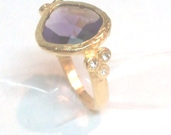 Sterling Silver 925 Ring Gold plated  with Purple Zircon and crystals