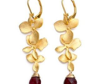 Sterling Silver 925 Gold Plated  Earrings with Granat Gemstone