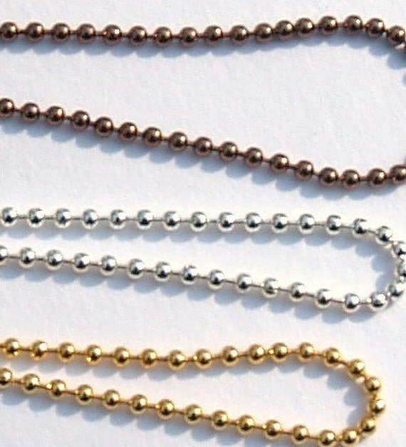 """18"""" Ball Chain Necklace in Gold Silver or Copper Tone"""