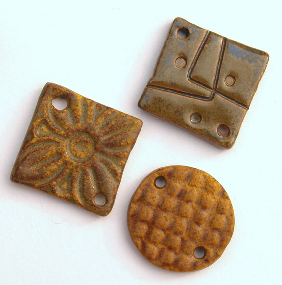 3 Ceramic Links or Pendants in Browns by Clay Designs by glee