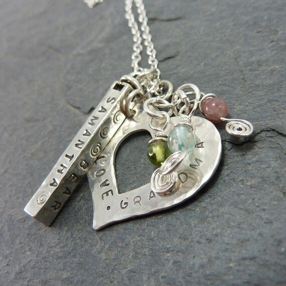 Personalized Hand Stamped Mother or Grandmothers Necklace with Heart and Bar