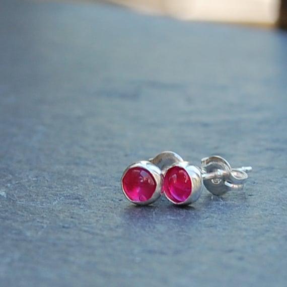 Pink Sapphire Stud Earrings: 4 mm Round Genuine Gemstone Post Earrings
