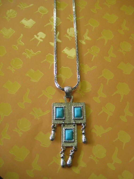 SALE chunky 70s Sarah Coventry FUNKY bohemian DANGLY pendant necklace