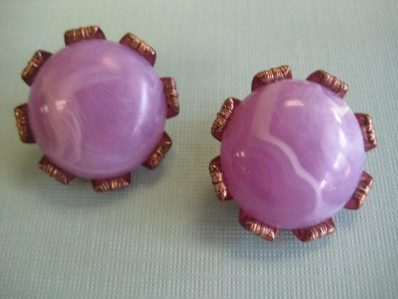 Vintage Lilac Swirl Lollipop Candy Button Clip on PURPLE EARRINGS