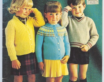 Vintage Knitting Childrens Sweater Patterns - 1970s Patons Beehive 110