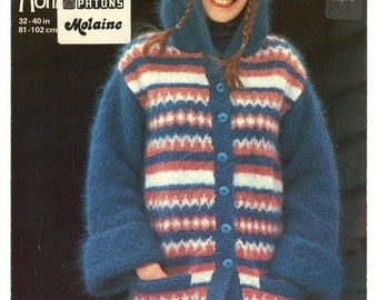 Vintage 1977 womens sweater knitting pattern - Jaeger 4585