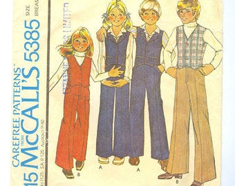 1970s pattern unisex girls or boys vest and pants size 8 McCalls Carefree 5385