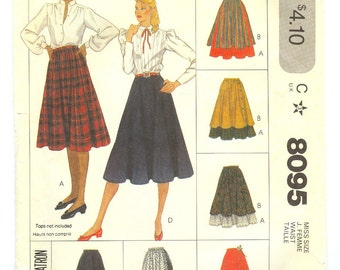 Vintage 80s gathered skirt pattern with overskirt Misses size 10 Waist 25 McCalls 8095