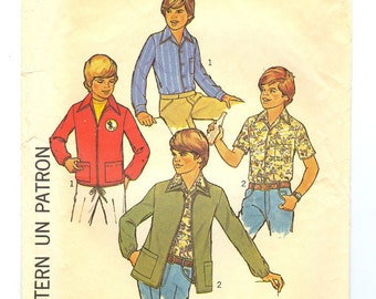 Vintage Boys Jacket and shirt sewing pattern size 8 1970s Simplicity 7637