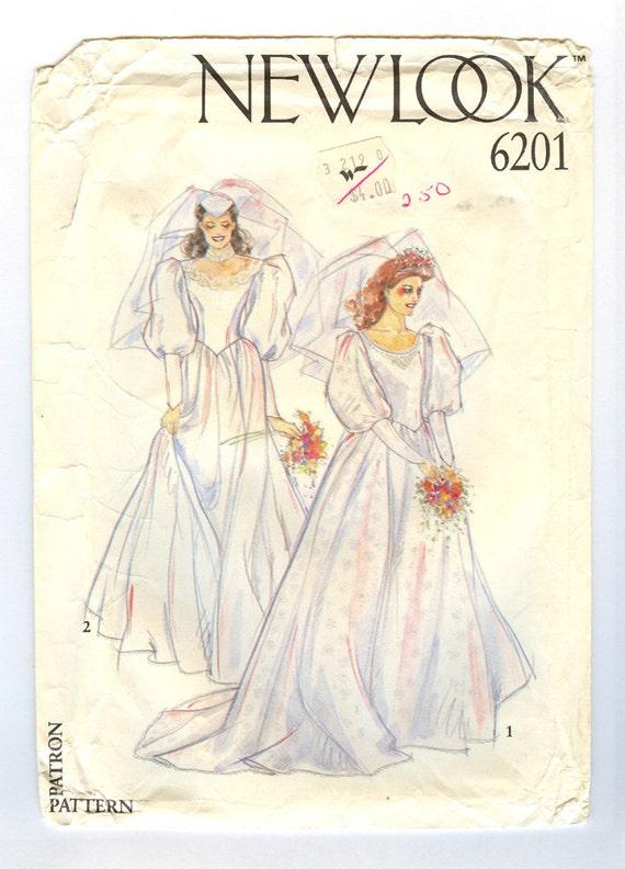 Vintage Uncut Wedding Dress multisize pattern sizes 8 through 18 XS to Medium Large New Look 6201