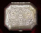 MERMAID TREASURE - Solid Perfume in Vintage Art Deco Woodworth Karess Silverplate Tri-fold Compact