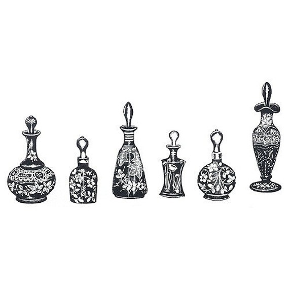 Unmounted Rubber Stamp Set - Perfume Bottles (6 Stamps)