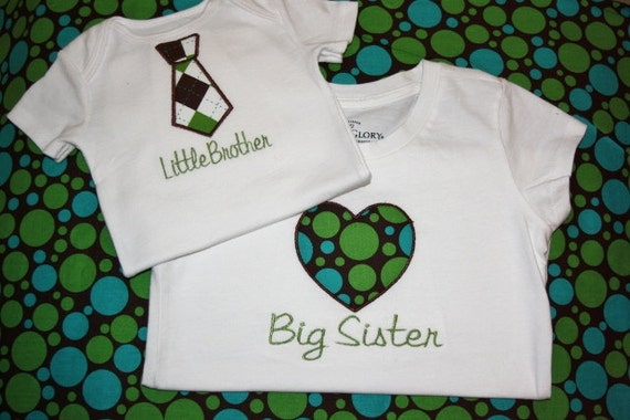 Little Brother Tie onesie, Big Sister Heart Shirt Personalized