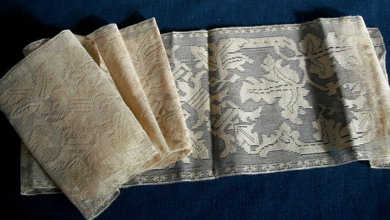 ANTIQUE ENGLISH LACE - Possibly Nottingham Loom Lace -  44 inches long x 5 3/4 inch wide