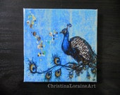 Peacock Art Magnet. Mini Art. Free Shipping