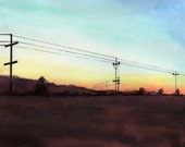 Road Trip Original Watercolor Sepia Orange Red Aqua Blue Countryside Sunset