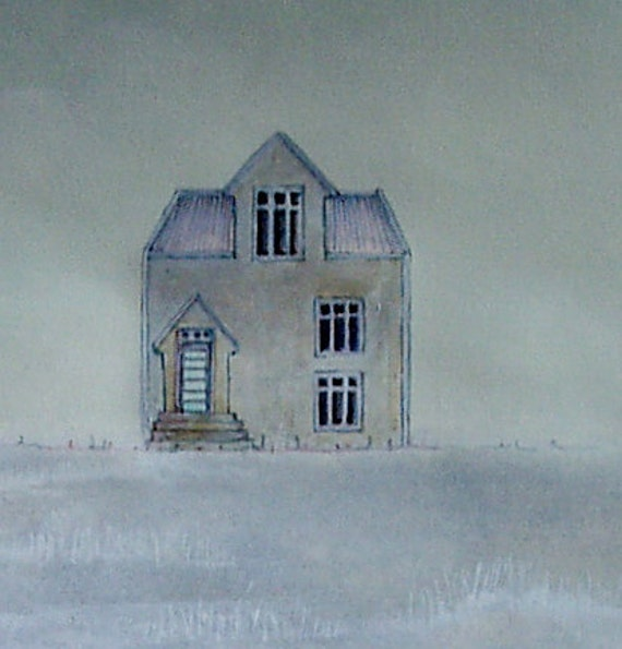 Hoar Frost Original Watercolor Painting White Taupe Pink Blue