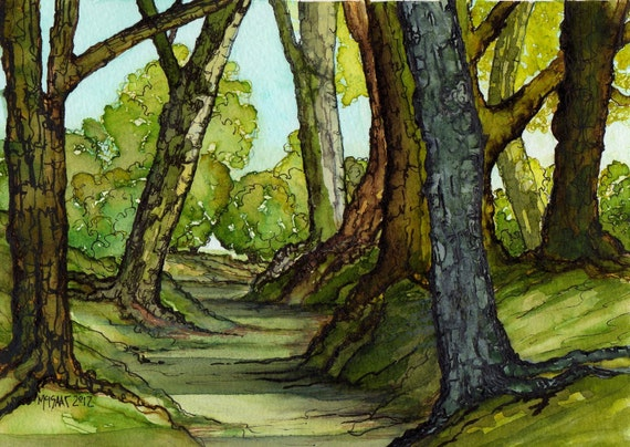Summer Afternoon Stroll Original Watercolor Country Landscape