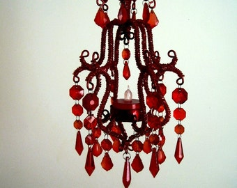 Scarlet Ohara Mini Candle chandelier In Scarlet Red MADE TO ORDER