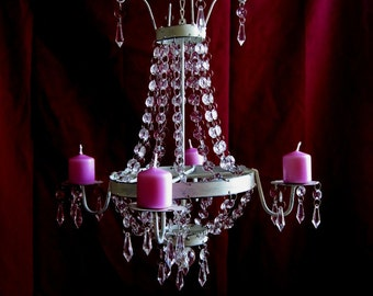 Elegantly Shabby Creamy White 4 Candle Chandelier MADE TO ORDER