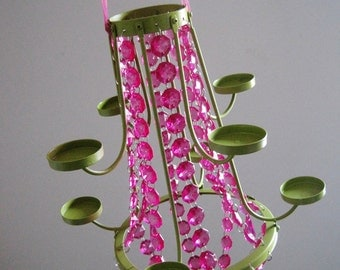 Fuchsia and Lime Girls Just Want to Have Fun 8 Candle Chandelier