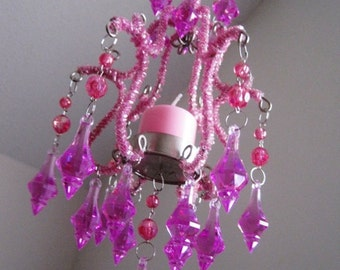 Whimsical Hot Pink Mini Candle chandelier MADE TO ORDER