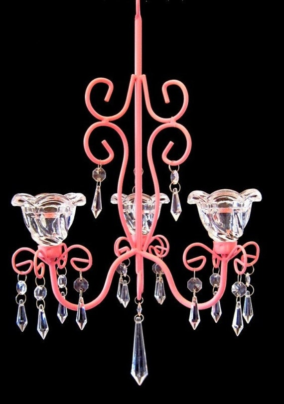 Pink Collection Pink Princess 3 Candle Chandelier MADE TO ORDER