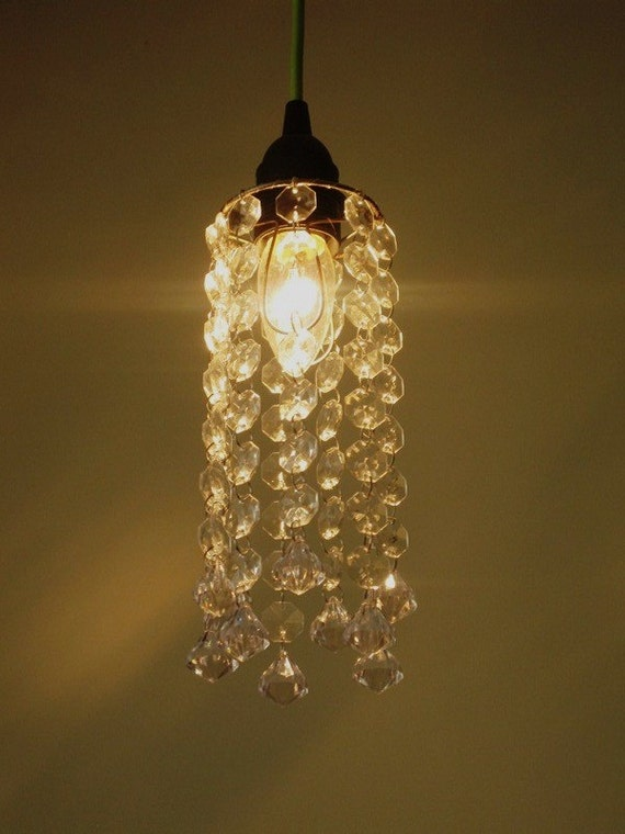Bare Bulb Mod and Trendy Mini Crystal Chandelier Shade Only MADE TO ORDER