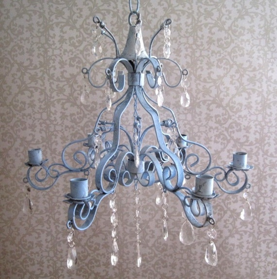 Seaside Collection Shabby Sea Blue Scroll Candle Chandelier