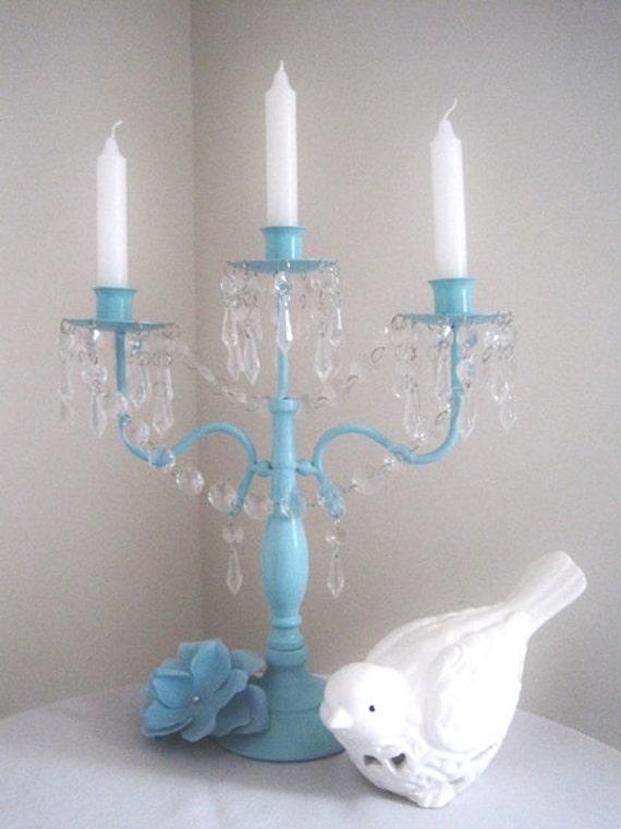 Spring Collection Aqua 3 Candle Candelabra MADE TO ORDER