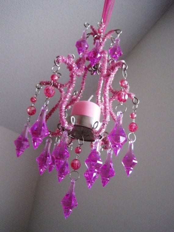 Whimsical Hot Pink Mini Candle chandelier by