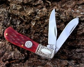 Hand Engraved Personalized Pocket Knife Mini Trapper Gift for Men Him Husband Anniversary