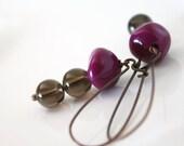 Smokey Quartz and Purple Lucite in Copper - Earrings