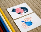 Two ACEO prints from original illustrations. BIRD and CAT