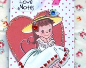 LOVE NOTES - Small notepad notebook with sweet vintage little girl
