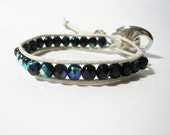 Chan Luu Style Bracelet waxed cotton and half crystal - black and ivory