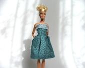 Handmade Barbie clothes - butterfly blue dress