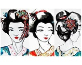 Geisha prints portrait - set of 3