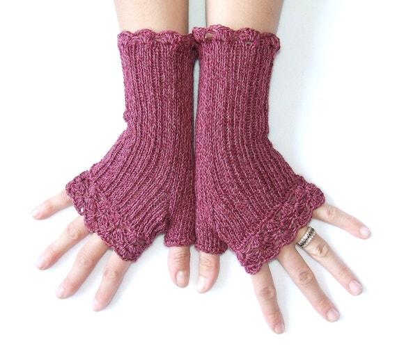 "Cotton Fingerless Gloves  "" Lacy Style""  -   50 % Cotton - 50  Acrylic -  Burgundy"