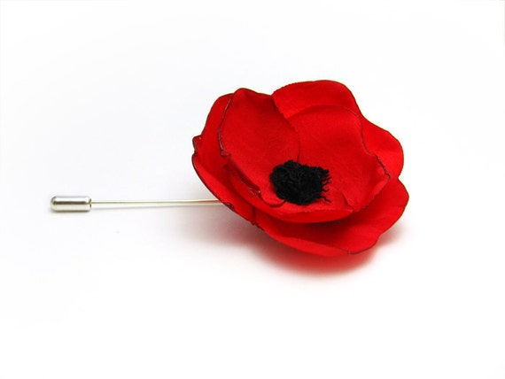 Tie pin Red poppy stick hat pin