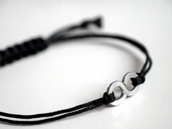 For Him Infinity Bracelet  with Square Knot  - Men and Unisex bracelet - Vegan friendly