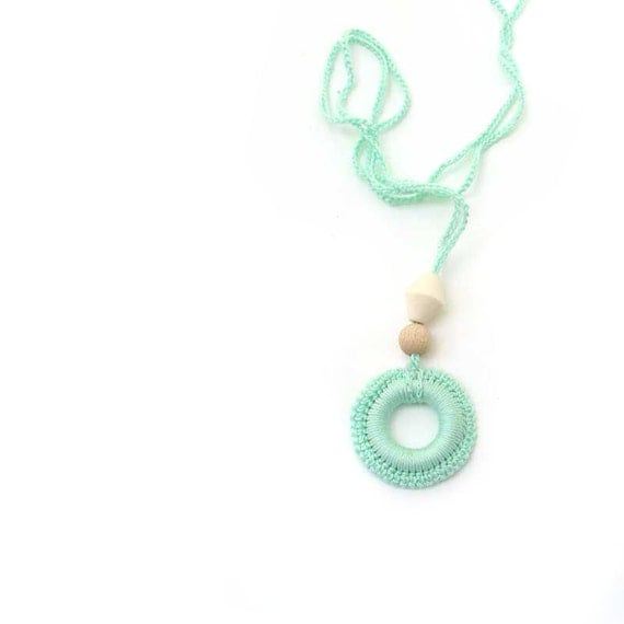Nursing necklace/ teething toy for baby - Breastfeeding Babywearing Mother.  Crochet cotton mint ring. ecofriendly