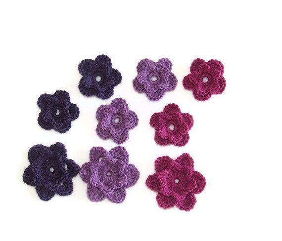 Chrochet Flowers -  Set of 9 pcs -  3 Colors:  Fucsia, Purple and  Blackberry - Wool