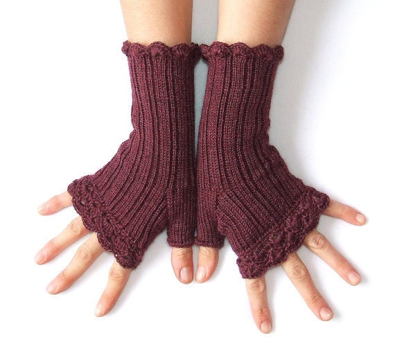 """Woman  Fingerless Gloves  """" Lacy Style"""" -  Wine red - Burgundy"""