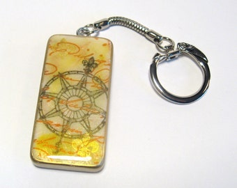 Compass and Script domino keychain