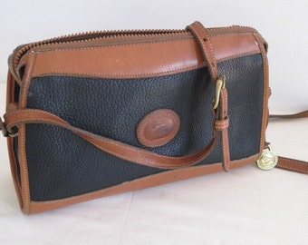 vintage Dooney and Bourke Black and Saddle Tan Leather Handbag