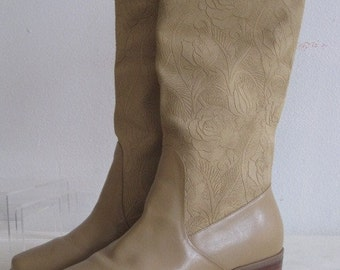 vintage Palomino Color Smooth Leather with Floral Embossed Leather Upper Boot by Markon  size 6 1/2 Medium