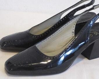 vintage Black Patent Sling Back Pump with Stacked Wood Heel by Joan & David  size 7 medium