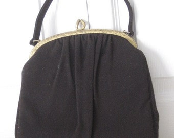 vintage Ingber Handbag in Chocolate Brown Wool