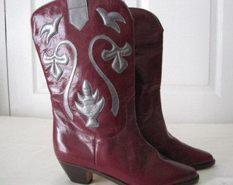 vintage Aubergine Leather Riding Boots with Fancy Silver Leather Appliques  size 6 1/2 medium